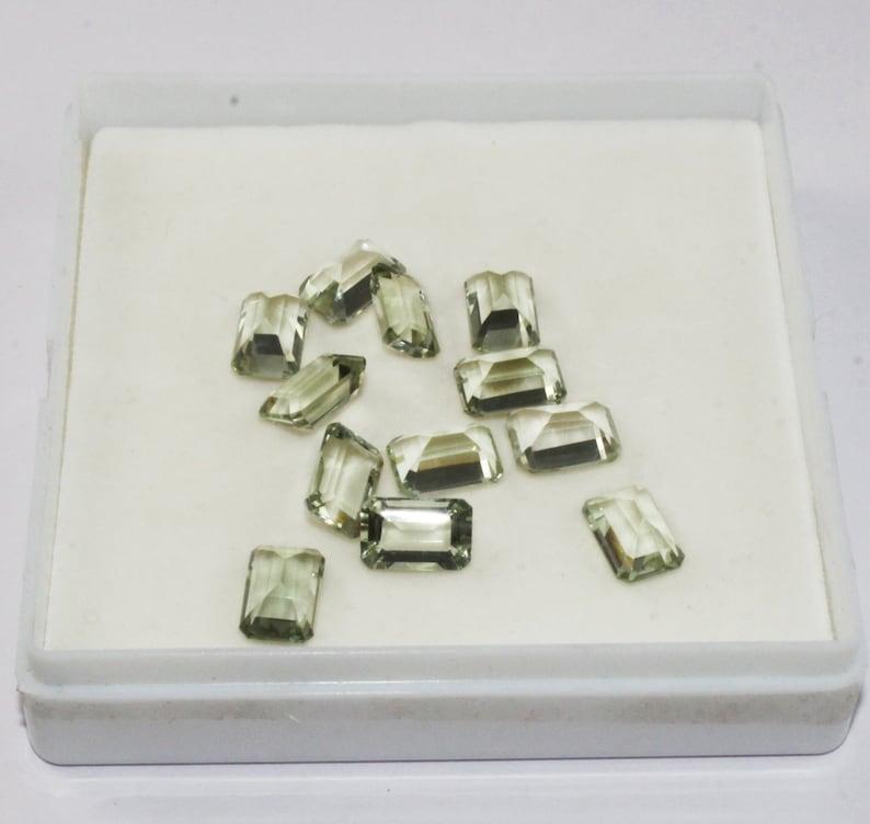 2Pcs 12x8mm Semi Precious Faceted Gemstone DIY Jewelry Making Matched Pair CS12 Natural Green Amethyst Rectangle Cut Loose Gemstones