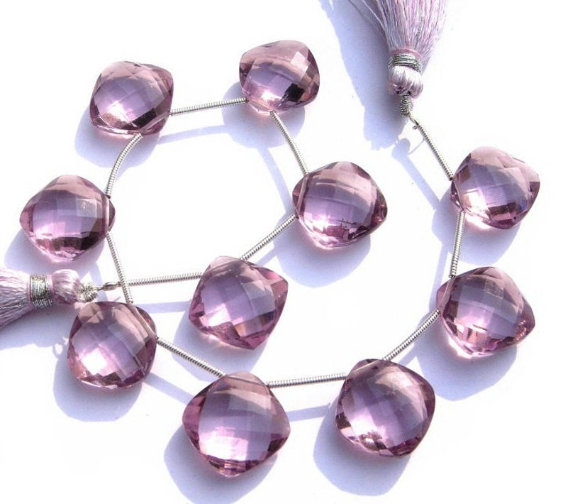 loose Gemstone Earrings Pair DIY Jewelry Making Beads 8 Pcs 14mm Pink Amethyst Quartz Faceted Cushion Briolettes Wire Wrapping Beads
