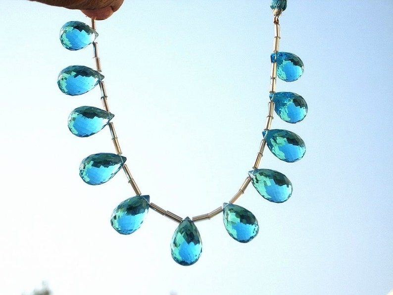 Beading 11 Pcs 12x9-15x9mm Swiss Blue Quartz Faceted Teardrop Briolettes Semiprecious Gemstone Beads -DIY Jewelry Making Wire Wrapping