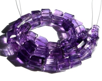 8 Inches African Amethyst step cut faceted nuggets 9x7 - 11x9mm fine quality wholesale price