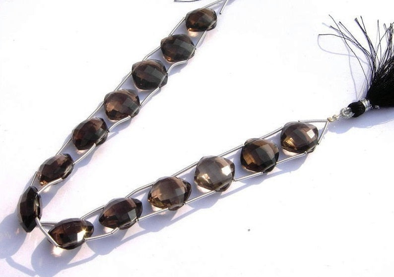 Jewelry making Semiprecious Gemstone Beads 8Pcs 14mm AAA Natural Smoky Quartz Double Drilled Faceted Cushion Briolettes Wire Wrapping