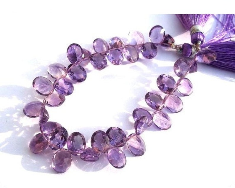 19 Pcs 9x7mm Natural Amethyst Faceted Oval Shaped Cut Stone Beads Semiprecious Gemstone Wire Wrapping Beads DIY Jewelry Making Beads