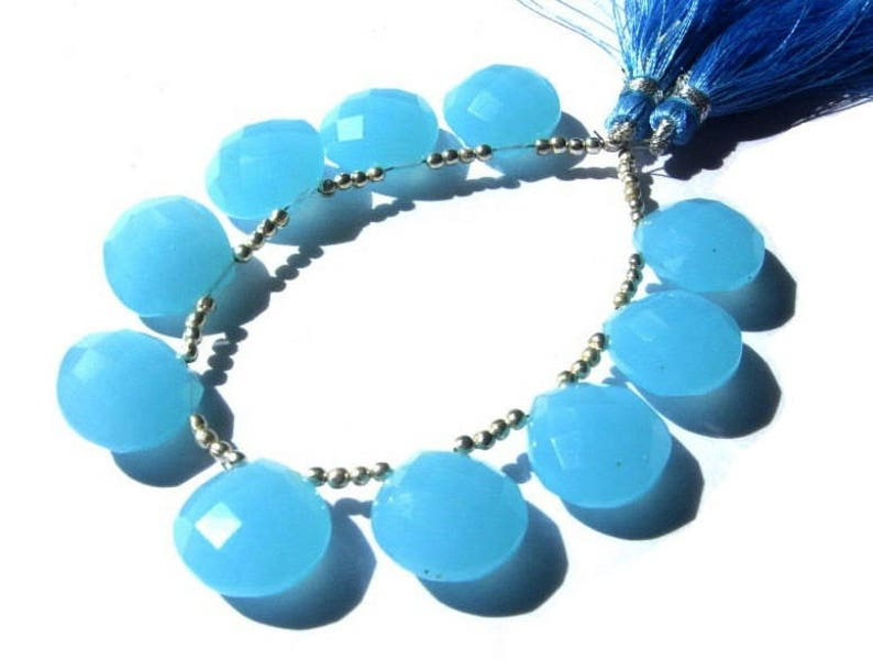 Earrings Pair DIY Jewelry Making Beads Wire Wrapping Beads 10 Pcs 15mm Aqua Blue Chalcedony Faceted Heart Briolettes Loose Gemstone
