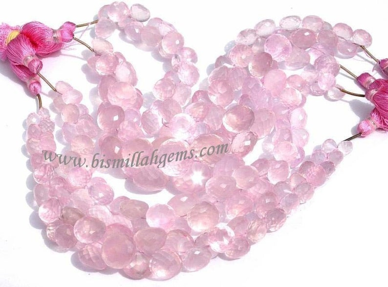 22Pcs 7-10 mm Natural Rose Quartz Micro Faceted Onion Briolettes Semiprecious Gemstone Beads DIY Jewelry making Wire Wrapping