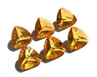 2Pcs 1 Match Pair AAA Citrine Quartz Concave Cut Trillion Briolette Size 14x14mm Concave Cut Gems (Drill Hole You Choose)