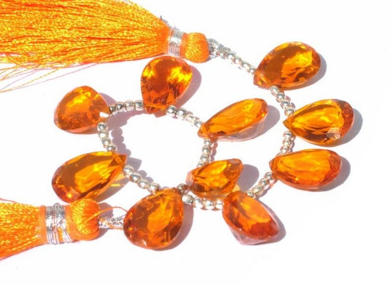 Wire Wrapping 10 Pcs 15x10mm Orange Quartz Faceted Pear Cut Stone Briolettes Earrings Pair Loose Gemstone DIY Jewelry Making Beads