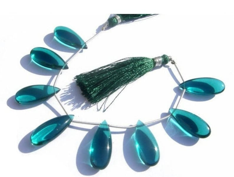 Paraiba Teal Green Quartz Smooth Elongated Pear Briolettes Jewelry Making Semiprecious Gemstone Beads Wire Wrapping 8 Pcs 25x10mm