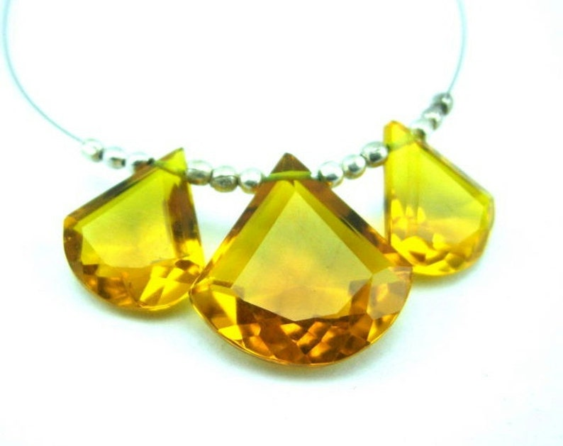 Earrings Pair Jewelry Making Wire Wrapping Loose Gemstone Briolettes 3 Pcs 15x14-17mm Citrine Quartz Faceted Fancy Briolettes