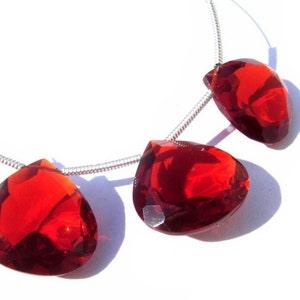 10 Pcs Set 5 Matched Pairs,Superb Item,Wholesale Price CHERRY RED Quartz Faceted PEAR Shape Briolettes 14X9mm Long