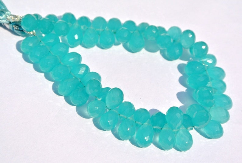 61 Pcs 9x5-10x6mm DIY Jewelry Making Beads Aqua Green Chalcedony Faceted Teardrop Briolettes Wire Wrapping Beads Loose Gemstone