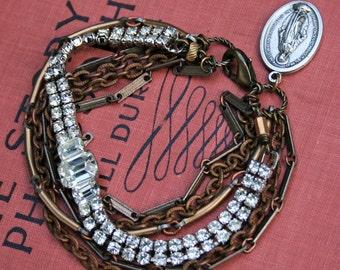 Reserved for Brooke - Multi-Strand Vintage Re-Purposed Rhinestone Chain Bracelet