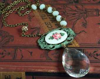 Vintage Crystal Verdigris Patina Necklace Hand Wrapped Amazonite Asymmetrical Pink and Green Necklace
