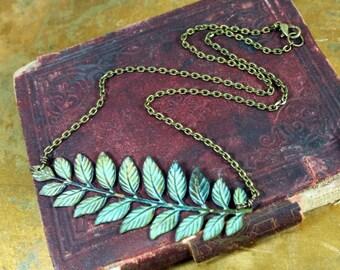 Verdigris Patina Leaves Necklace