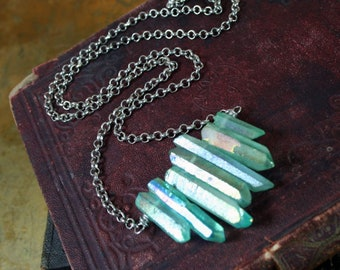 Mystic Green Quartz Crystal Row Necklace Electroplated Quartz Crystal Points Necklace Titanium Quartz