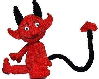 Damon Devil, PDF Pattern, amigurumi tutorial from Katja Heinlein fantasy red fantasy crochet file download love stuff toy