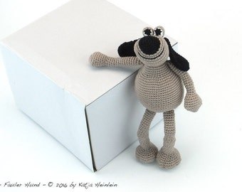 amigurumi dog, edgesitter PDF crochet pattern animal tutorial file ebook figure by Katja Heinlein pet
