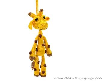 amigurumi giraffe, PDF crochet pattern tutorial by Katja Heinlein, ebook bag pendant, safarie file download