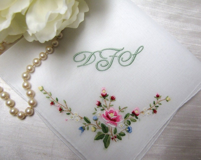 Custom Monogrammed wedding hankie with choice of hand embroidered floral detail