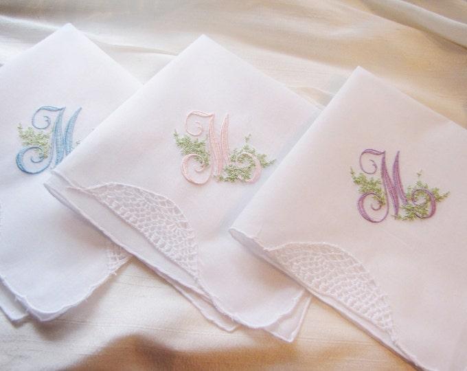 Three Elegantly Monogrammed Wedding Handkerchiefs