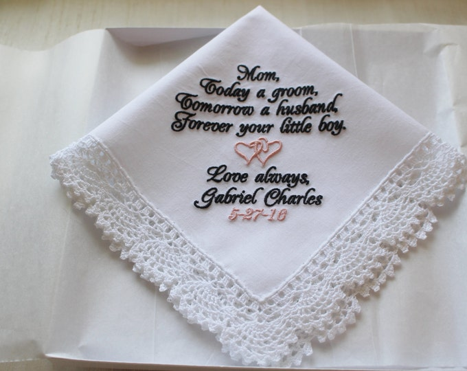 Personalized Gift from Groom to Mother Wedding Handkerchief, Mother of the Groom from the Groom, wedding hankie, wedding hanky
