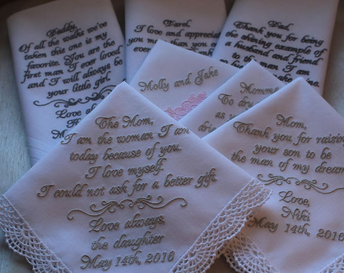 Embroidered Wedding Handkerchief Gift Seven/Mother of the Bride/Bride/Mother of the Groom/Parent Gifts/Wedding Hankies/Wedding Handkerchief