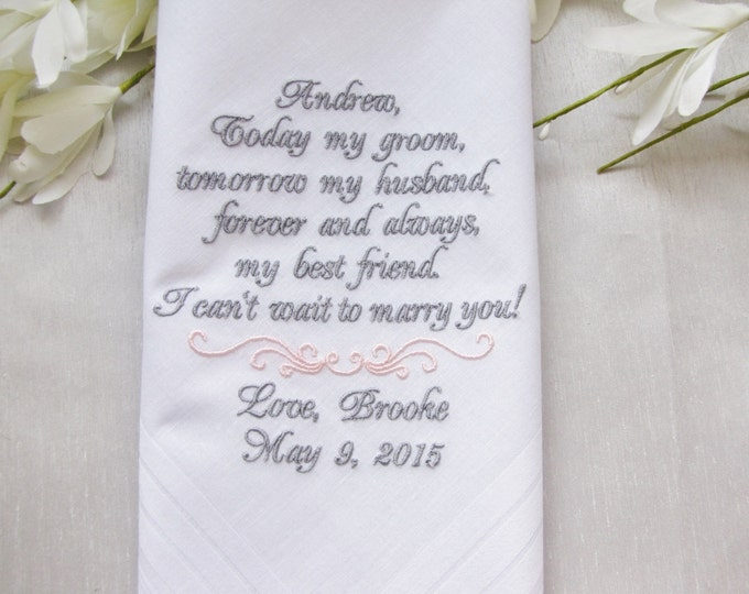 From Bride to Groom Personalized Wedding Handkerchief, Groom Wedding Gift, Embroidered Wedding Handkerchiefs, Personalized Men's Accessories