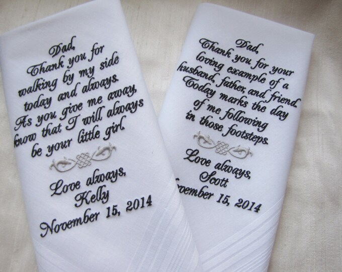 Father of the Bride and Father of the Groom Wedding Handkerchiefs, Personalized Embroidered Hankerchiefs