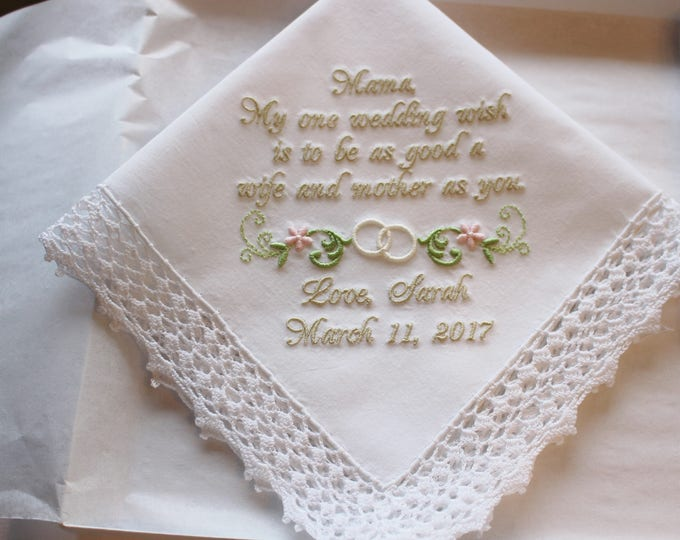 Mother of the Bride Gift Handkerchief, Wedding Wish Personalized Mother of the Bride Wedding Handkerchief with Wedding Ring Swag