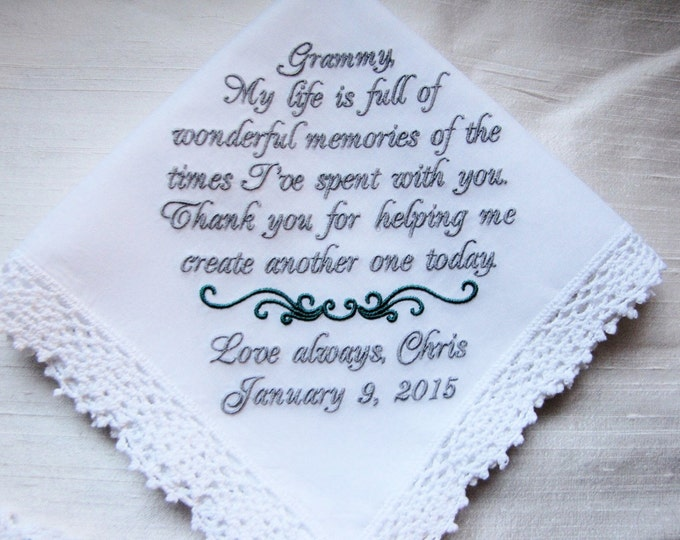 Grandmother from Bride Wedding Handkerchief, embroidered wedding handkerchief, Personalized Grandmother Hankie, Parent Gifts, Grandma Hankie