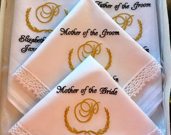 Personalized Monogrammed Wedding Handkerchiefs Parent Gifts, Embroidered wedding handkerchiefs, custom handkerchiefs, equestrian