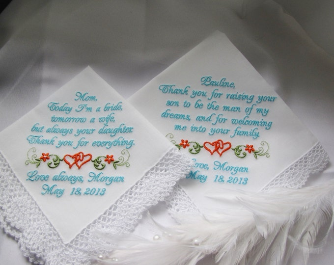 Mother of the Bride and Groom Embroidered Custom Wedding Handkerchiefs Parent Gifts from Bride