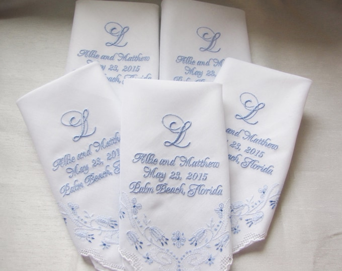 Five Custom Embroidered Wedding Handkerchiefs with Your Monogram