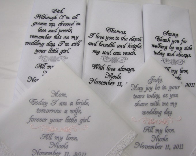 Set of 5 Personalized Wedding Handkerchief Gifts, Embroidered Hankys, Mother of Bride, Father of Bride, Mother of Groom, Father of Groom