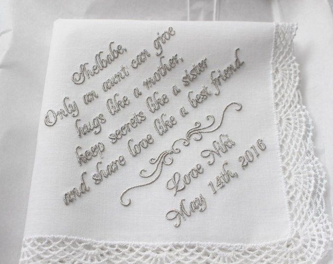 Custom Embroidered Bride to Aunt Custom Wedding Handkerchief, Wedding Hankie, Personalized Handkerchiefs, Gift from Bride to Aunt
