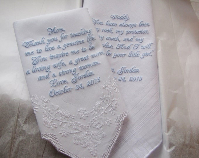 White Wedding Handkerchiefs Personalized for Parents of the Bride