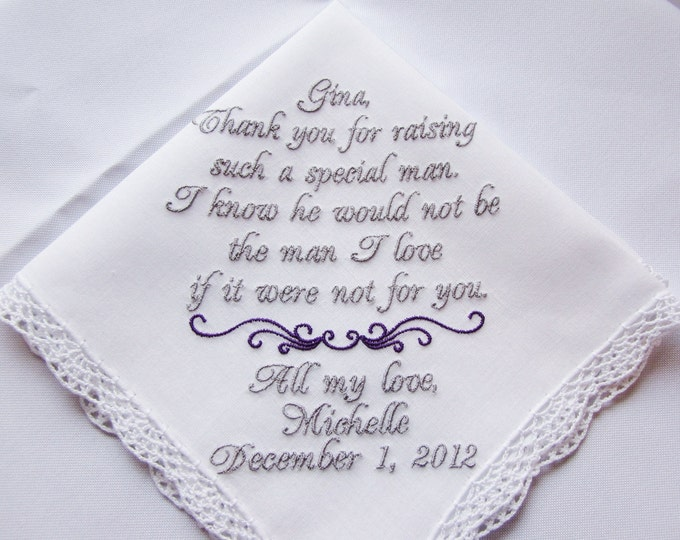 Mother of the Groom Wedding Handkerchief, Hankie, Hanky Personalized, Custom