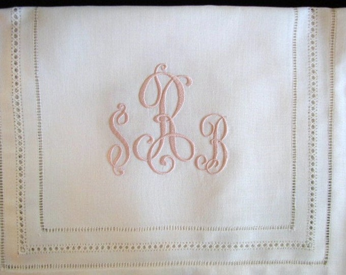 Monogrammed Linen Table Runner for Elegant Head Table, Cake Table, Dining Room Table, Wedding Reception Decor,