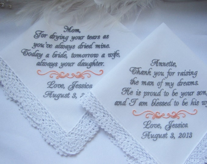 Embroidered Custom Wedding Handkerchiefs for Mothers of the Bride and Groom Personalized in Your Wedding Colors