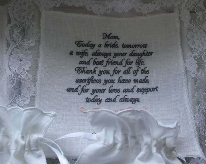 Mother of Bride Gift, Embroidered Wedding Handkerchiefs, Custom handkerchief, Giffts for Mom, personalized wedding handkerchief