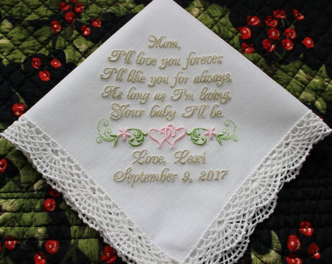 Mother of the Bride Embroidered Wedding Handkerchief, Mother of the Bride Gift,  personalized wedding handkerchief, Bridal Handkerfchief