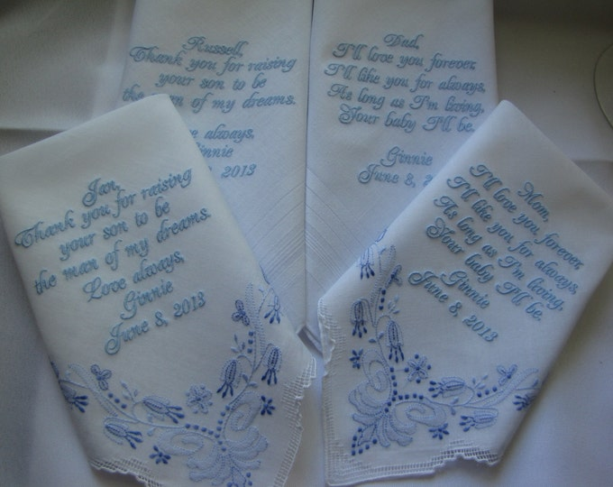 Four Personalized Custom Wedding Handkerchiefs for Parents of Bride and Groom