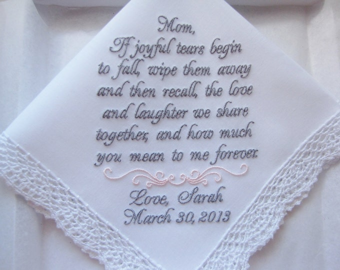 Mother of the Bride Wedding Handkerchief Gift, Custom Embroidered Personalized Wedding Handkerchief, Wedding Hankies, Wedding Handkerchiefs