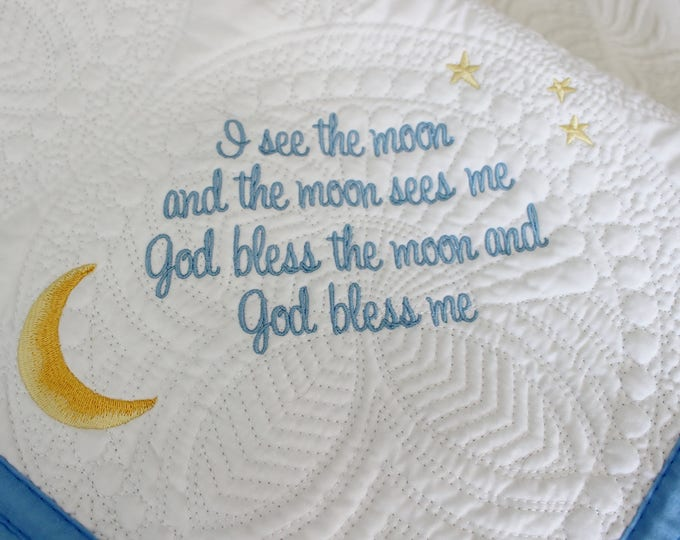 I See the Moon Embroidered Keepsake Baby