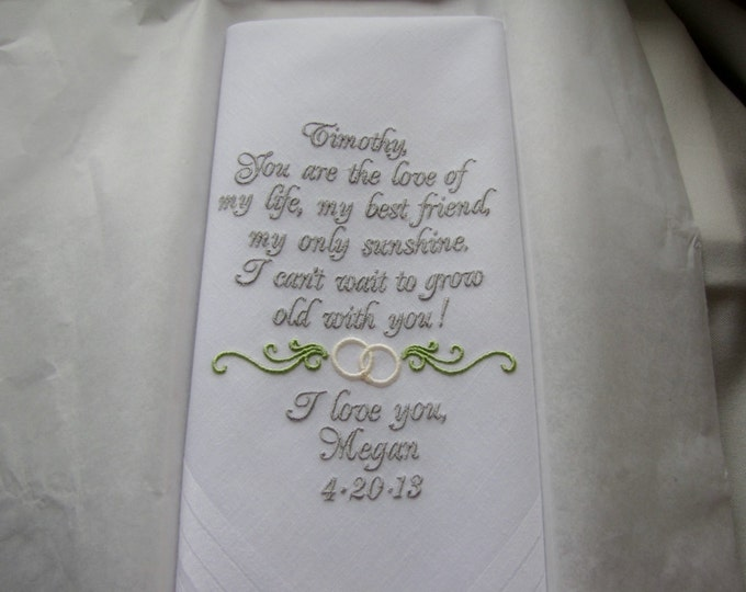 Wedding Handkerchief for Groom from Bride, Personalized Wedding Handkerchief, Groom Handkerchief, Father of the Bride, Groom Gift, Bridal