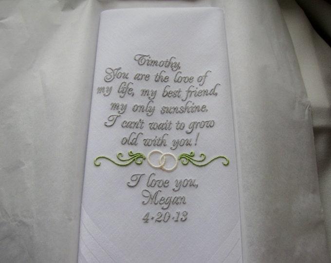 Personalized Bride to Groom Wedding Handkerchief Gift, Custom Hankys, Embroidered Wedding Handkerchiefs, Personalized Men's Accessories