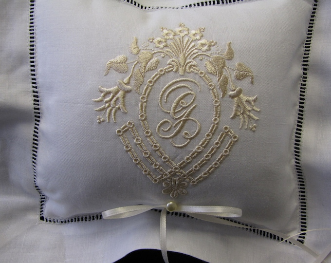 Monogrammed  Ring Bearer Pillow, Wedding Ring Pillow, Embroidered Ring Pillow