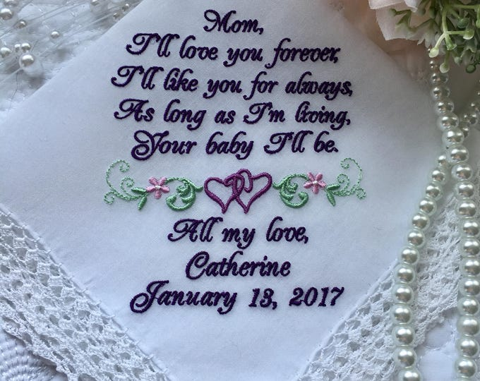 Mother of the Bride Gift Handkerchief From Daughter,  Personalized Wedding Handkerchief, Mom From Bride Gift, Embroidered Handkerchief,