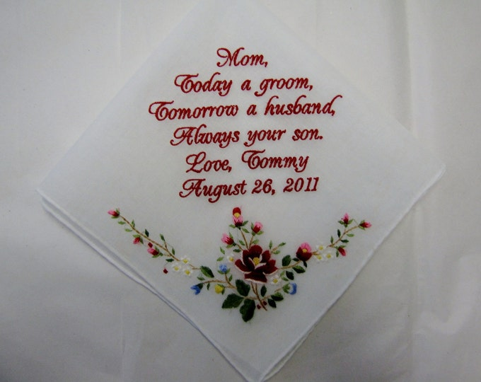 Personalized Wedding Handkerchief From Groom to His Mother