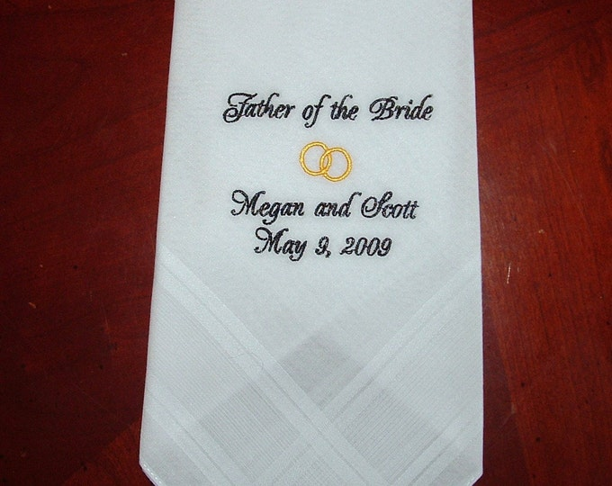 Father of the Bride Wedding Handkerchief Personalized for you