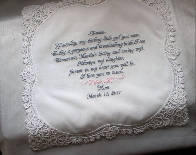 Mother to Bride Wedding Handkerchief Gift, Bride handkerchief, Mother of the Bride, Embroidered, Wedding Handkerchief, Bridal Handkerchief